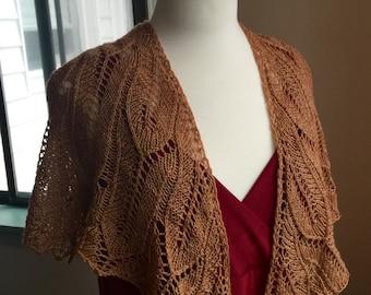 birdwing shawl, merino, bamboo, nutmeg brown