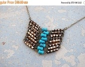 48 Hr SALE Tribal Breastplate Necklace - Modern Turquoise and Bone Dots Native American Inspired Breastplate Necklace - Modern Pocahontas Co