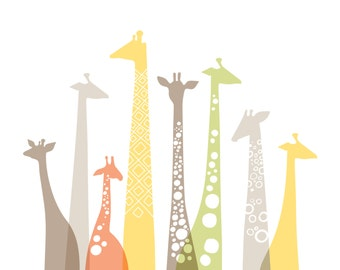 "16X20"" giraffes landscape format giclee print on fine art paper. pastel sage, coral, gray, butter yellow."