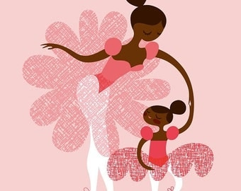 "SHOPWIDE SALE ballerina mother and daughtersisters. african american/latina pink. 8X10"" giclee print on fine art paper"