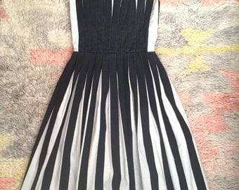 Unusual Vintage Black and White Pleated Dress / Circus/Steampunk/Carnival