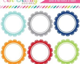 Lace Scalloped Frames Clipart, Digital Scrapbooking Clip Art Elements, Circle Frames Clipart Set, Commercial Use OK