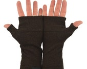 Men's Fingerless Mitts in Chocolate Merino - Dark Brown - Recycled Felted Wool