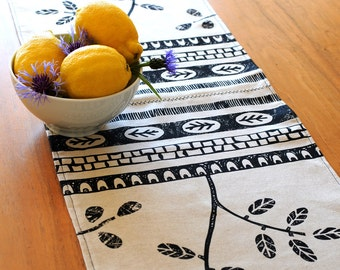Linen Leaf Trail & Geometric Table Runner