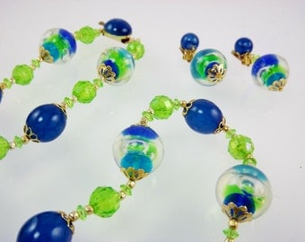 Blue and Green Lucite Bead Necklace, Bubble Necklace, Clip Dangle Earrings, Jewelry Set, Costume Jewelry, 1950's Jewelry
