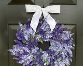 WREATH SALE Lavender Wedding Wreath- Summer Wreath- Lavender Wreath with Ribbon- Spring Wreath- 20 inch