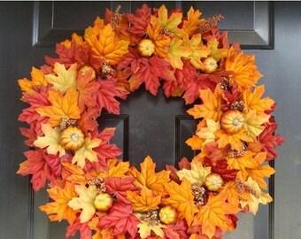 FALL WREATH SALE Thanksgiving Fall Wreath- Pumpkin Pie Thanksgiving Wreath Decor- Fall Wreaths- Autumn Wreaths  Last One for 2015