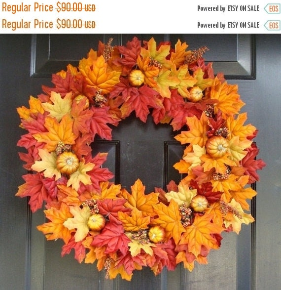 FALL WREATH SALE Thanksgiving Fall Wreath- Pumpkin Pie Thanksgiving Wreath Decor- Fall Wreaths- Autumn Wreaths  Last One for 2015