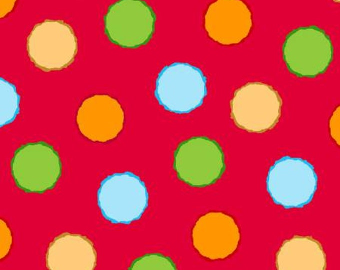 ABC FABRIC, Children's  Red Multi Colored Dot Cotton Fabric by Shelly Comiskey for Henry Glass & Co