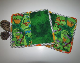 Ninja Turtles Snack Mat SET, quilted, reversible, two mini placemats