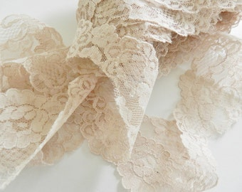 French Lace, Vintage Lace, Beige Lace, Wedding Lace, Lingerie Lace,  6 yards