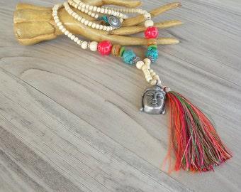 Long Tassel Necklace, Colorful, Bohemian, Mala Style Necklace, Buddha Jewelry, Handmade, Off White