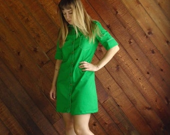extra 30% off SALE ... Bright Lime Green Mod Mini Dress - Vintage 60s - SMALL
