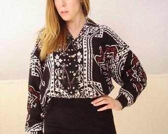 30% off ... Ethnic Mandala Print Button Down Blouse Shirt - Vintage 90s - M L
