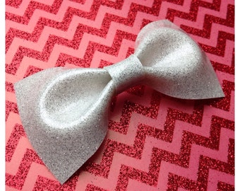 Rockabilly Wedding White Glitter Vinyl Hair Bow Medium Rockabilly Bow Pin Up bow Hair Clip Glitter Bow vinyl bow Pinup Bow Rockabilly Hair