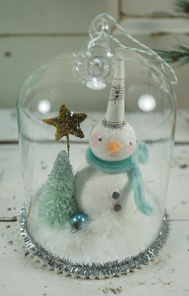 Christmas decoration snowman folk art by for Mica decoration cloche