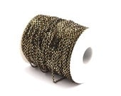 Cable Brass Chain, 5 M (2x3mm) Brass Tiny Faceted Soldered Flat Cable Chain -   ( Z149)