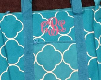 Turquoise / Teal quatrefoil WEEKENDER tote bag with free monogram.  Zippered Closure.