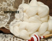 SOUTHDOWN Undyed Combed Top Natural Ecru White Wool Roving for Spinning - 4 oz
