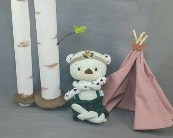 Douglas the Bear Doll, Handmade, Stuffed Animal, Toy, Children, Plush, Nursery