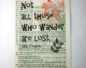 Not all those who wander are lost print on a book page