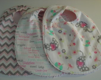 Girl baby bibs set of 3 with chenille