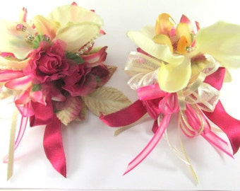 Pink and Ivory Cymbidium Orchids and Rose Lilies and Roses Pearl Bracelet Wrist Corsage and Boutonierre Prom or Homecoming Set ready to ship