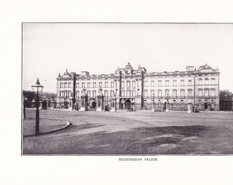 1900 Architecture Photograph - Buckingham Palace London England - Antique Vintage Design Art Photo Illustration for Framing 100 Years Old