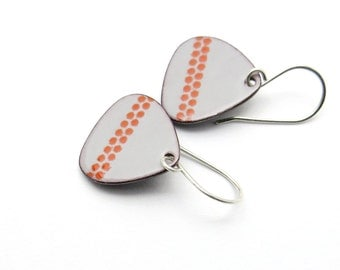 Gray Drop Earrings - Gray Enamel Earrings - Handmade Drop Earrings - Enamel Jewelry