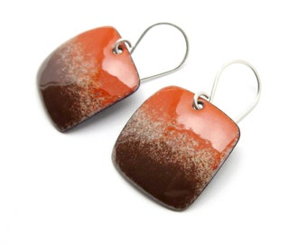 Brown and Orange Red Earrings - Enamel Earrings - Orange Red Dangle Earrings - Brown Enamel - Orange Red Enamel - Modern Enamel Jewelry