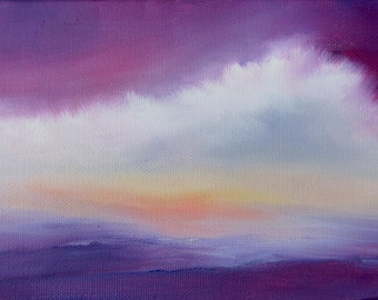 "Ocean painting, beach decor, abstract landscape, cloud, art, ""Sea Clouds-Purple"" 5x7 includes metal easel"