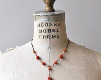 25% OFF SALE Coral Rosette necklace   vintage 1930s necklace   coral 30s necklace