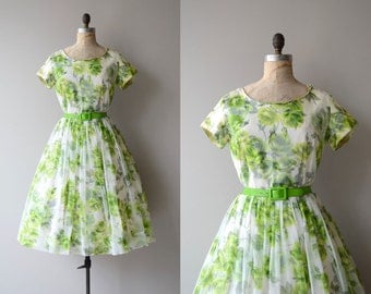 Envious Rose dress | vintage 1950s dress | chiffon floral 50s dress