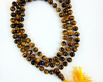Golden Tiger's Eye Hand-knotted Mala 7mm Prayer Beads