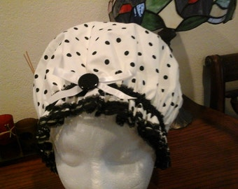 Fancy Shower Cap Black and White Polkadot Spa and Bath fits Sm. Free Shipping