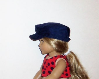 Newsboy Hat, Navy Blue, Corduroy, Biker Cap, 18 Inch Doll, 15 Inch baby Doll, Boy or Girl, American Made, Girl Doll Clothes, Accessories