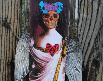 Mixed media art assemblage skull bat collage latino art