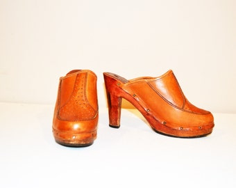 Vintage Shoes 1970's Leather Clog