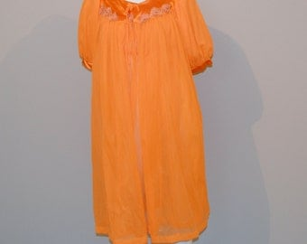 Vintage Robe & Nightie Tangerine Peignoir 60s