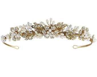 Gold wedding tiara Pearl bridal tiara crystal pearl leaf wedding wedding hair accessories