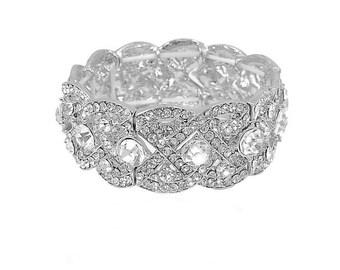 Crystal wedding cuff bracelet Vintage style wedding Art Deco bracelet silver bridal bracelet Art Deco