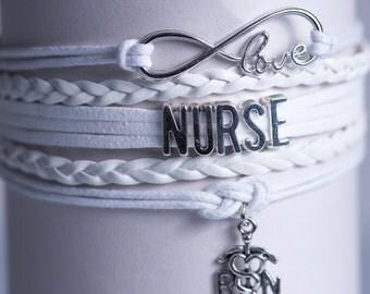 White RN Nurse  Handmade Infinity Bracelet