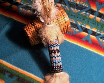 Smudge Feather Smudge Fan Prayer Fan Gourd/Peyote Stitched-Dreams
