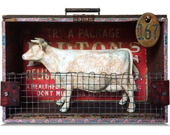 "Assemblage Art Sculpture ""No. 167"" Cow/Cattle/Dairy Art"
