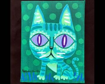 グリーンお座りネコ・Green Seated Cat