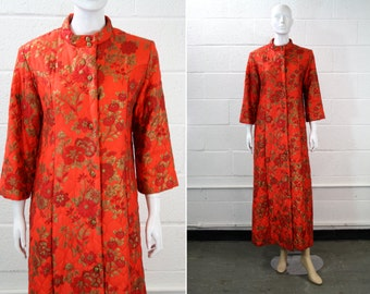 Fifth Avenue Robes Vintage Red and Gold Floral Print Quilted Long Sleeve Button Down Housecoat Robe