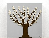 ON SALE Gift for Him - Contemporary Canvas Artwork - Textured Tree Painting in Gray and Brown - Mini 6x6