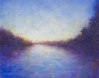 Santa Barbara California Sunset Abstracted Landscape Painting