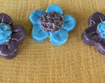 Ceramic Flower Clusters -   Brights Flower Stakes for plant markers - blue and purple set of 3