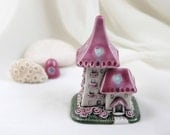 Romantic Pink-Turquoise summer House of tiny fairies -- unique Hand Made Ceramic Eco-Friendly Home Decor by studio Vishnya